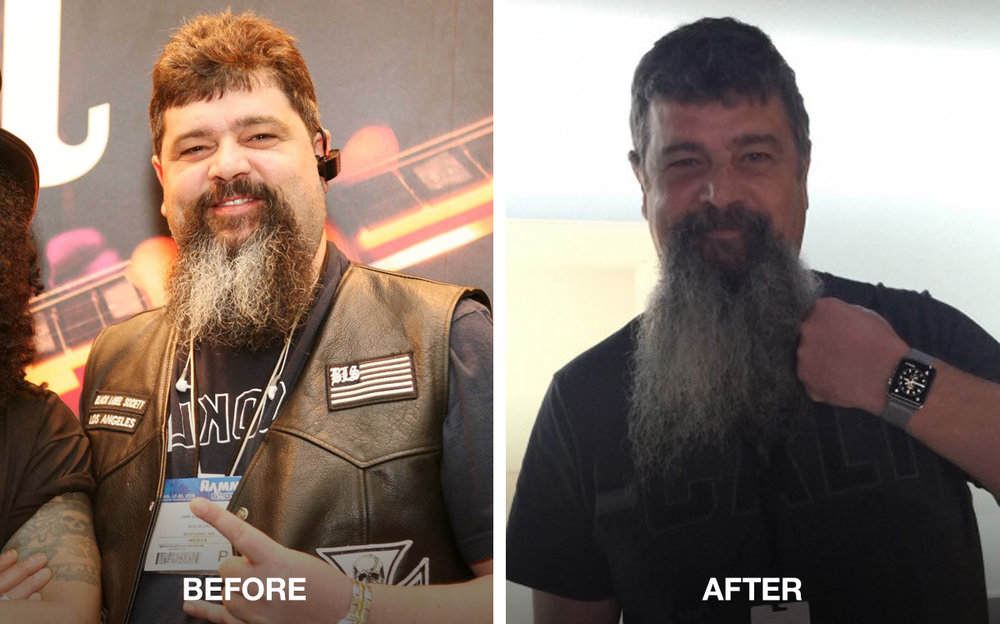 "Jim Dalrymple hasn't shared any before-and-after photos of his Apple Watch and HealthKit-aided transformation, but I was able to pull together this comparison via a photo from before his life change on the left (I wasn't able to pin down a date, but it's definitely pre-Apple Watch) and after on the right. As Dalrymple notes in his review of Apple Watch, ""People have asked if those two Apple technologies [Apple Watch and HealthKit] have really helped me lose over 40 pounds … I am responsible for losing the weight, but I couldn't have done it without the information provided by Apple Watch and HealthKit."" (Images via Jim Dalrymple)"