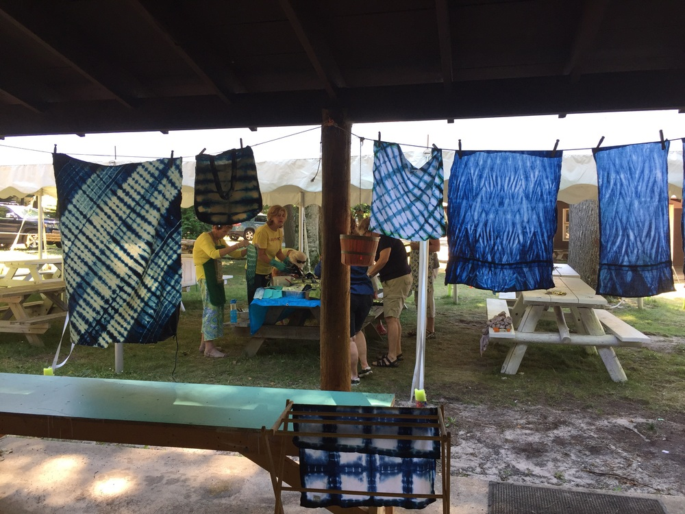 Indigo drying on the line