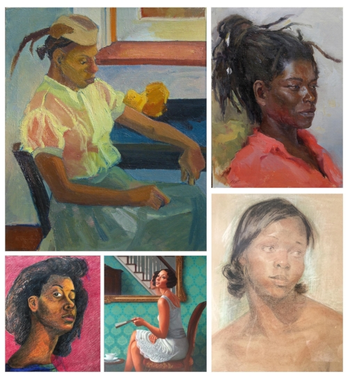 Black Woman Portraits_VariousArtists (clockwise from top): Guarn In Contemplation, by B. Toler Turner (my mother), Oil on Canvas, 1982 Study of Edith, by Dominic Avant (a former RISD classmate of mine), Oil Painting Untitled, by Harry Pink, WPA Era African American Portrait, Pastels on Paper, c. 1935-1943 Green Tea, by Kadir Nelson, Oil on Canvas Self Portrait of me, by Keita Turner, 1986/87