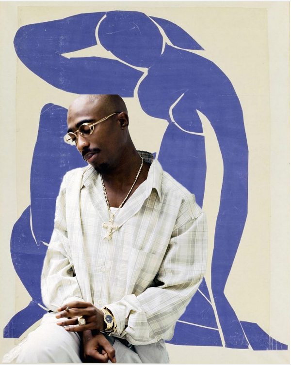Tupac and Matisse, and the artist behind this piece, Elise R Peterson