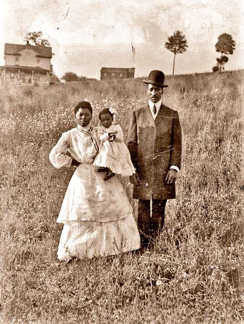This image for me represents how much Black History there is for me to still discover. I look at this prairie settler couple in the 1800's often in my phone. There's so much to consume in it! The crisp clothing, the way this gentleman's hat is slight cocked just so, the baby that is the future, the not so small house behind them and my favorite detail: this free black woman's hand resting on her hip.