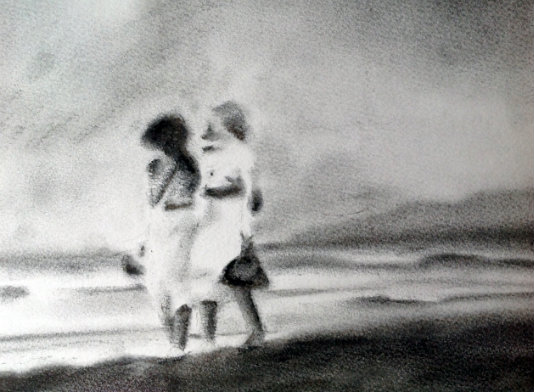 Headland Girls.     Charcoal on watercolour paper, 12x9 inches.