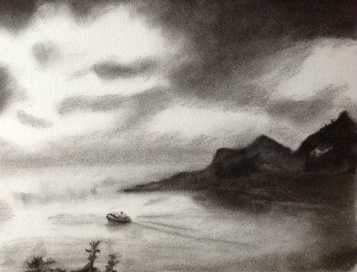 Departing Polperro (Study) Charcoal on watercolour paper, 12x9 inches.