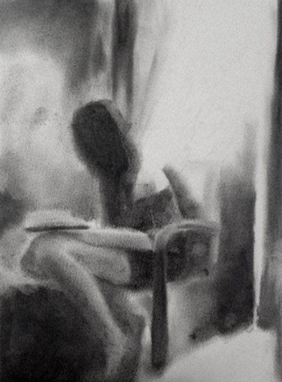 First Light Charcoal on watercolour paper, 9x12 inches.
