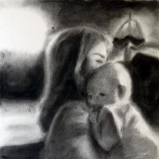 Then There Was You Charcoal on watercolour paper, 9x9 inches.