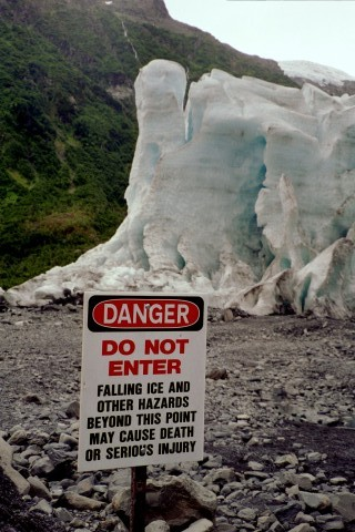 Exit Glacier 2003. This was as far as they would let you walk, but you could walk right up to the face of this glacier and the trail gained no elevation.