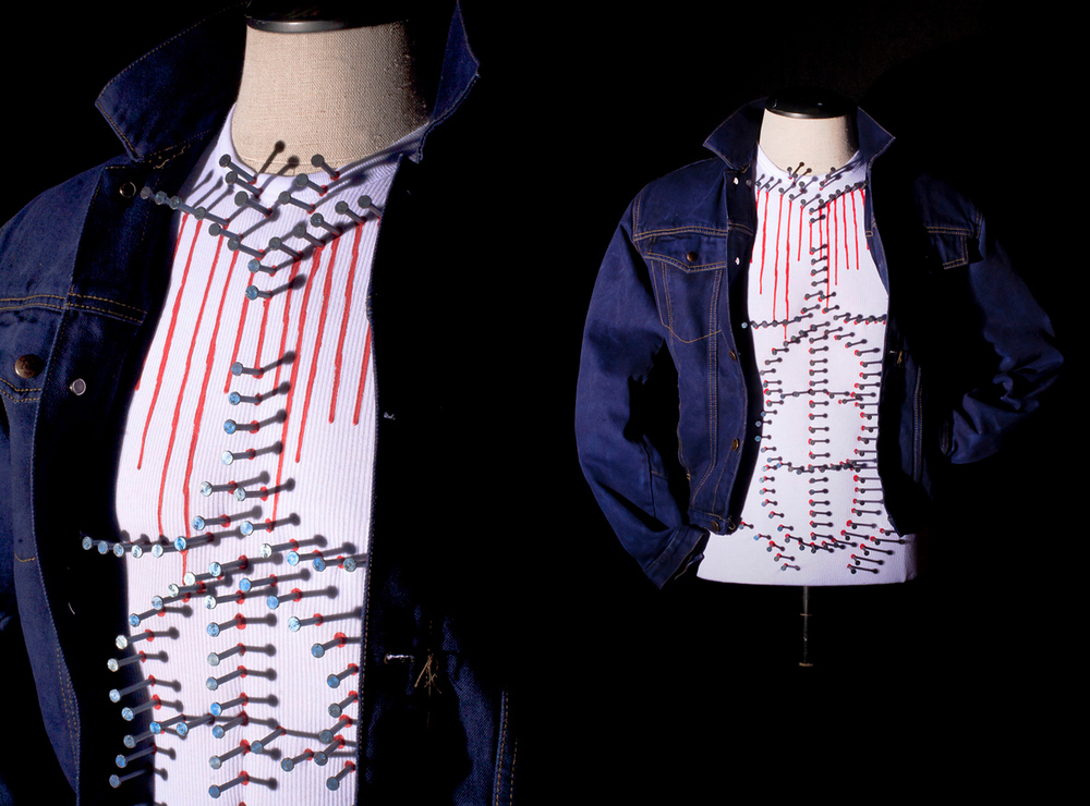 American Made 2010, Sculpture: tshirt, nails, paint, hand dyed men's denim jacket, men's form.