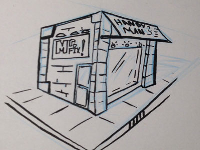 A store front idea. This is still being worked on. (I know the perspective is a bit off, but I free handed the vanishing points. So... there ya have it.)