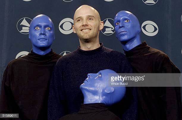 As a Blue Man (opening for David Bowie and Moby, Area2 Tour), depicted here with MOBY at the Grammy Awards.