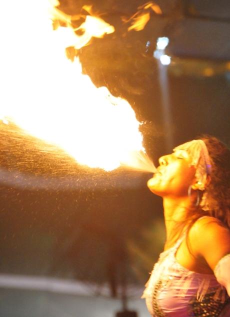 Sangita breathing fire. Photo: John Nyagah