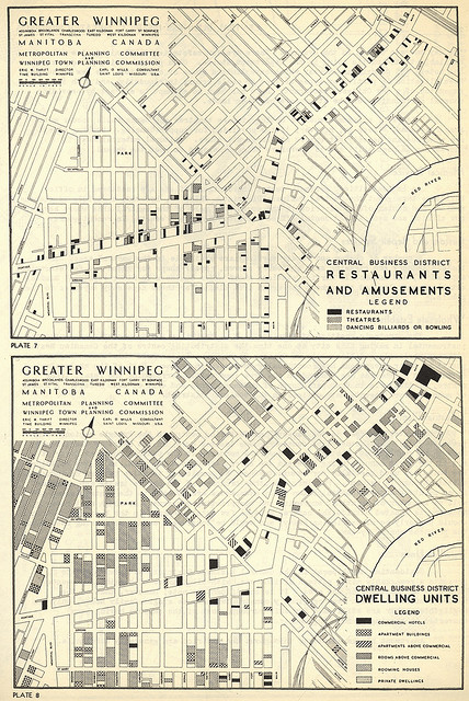 "Greater Winnipeg Central Business District Restaurants Amusements and Dwelling Units (1948) by Manitoba Historical Maps on Flickr. 1948 map of ""Restaurants and Amusements"" in Greater Winnepeg"