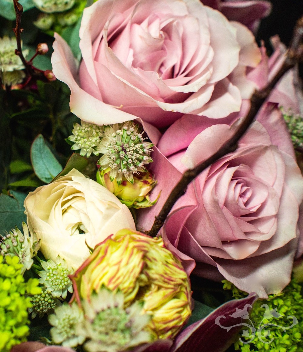 Roses, Astrantia and Blossom twigs