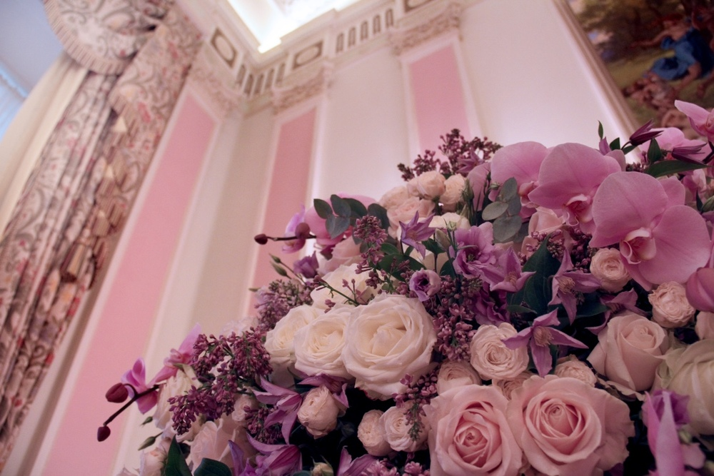 Creating the floral arrangements in perfect harmony in style, scale and colour with the design of the room is essential.
