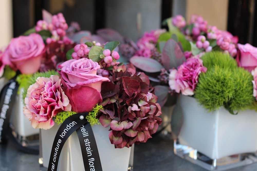 Petite Couture arrangements from the Autumn Collection at Neill Strain Floral Couture London