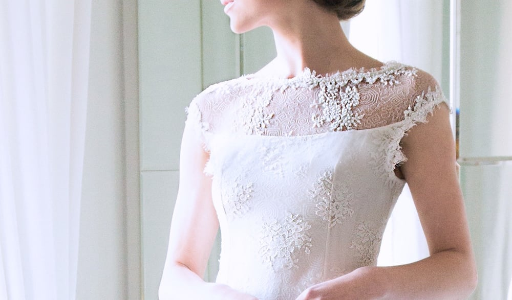 "Detail of the Beaded Sheer Upper Basque of Louise Kennedy's bridal gown ""Caroline"""