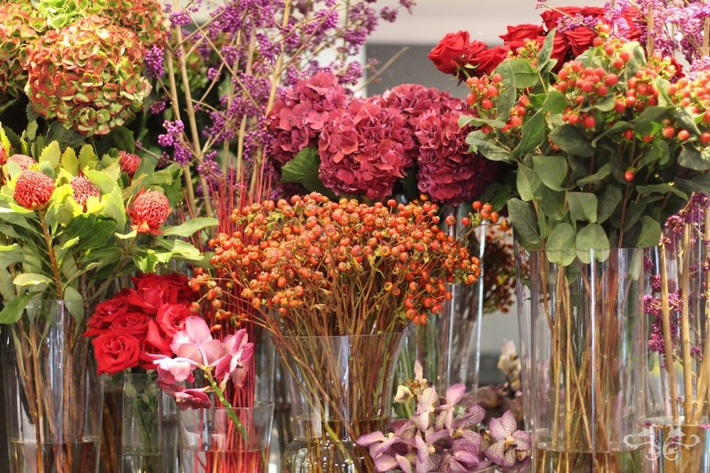Autumn flowers at Neill Strain's Belgravia boutique