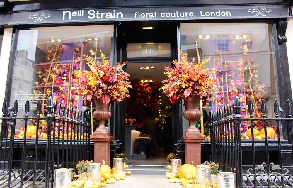 Neill Strain Floral Couture Belgravia boutique dressed for Halloween and Thanksgiving with an Autumnal display