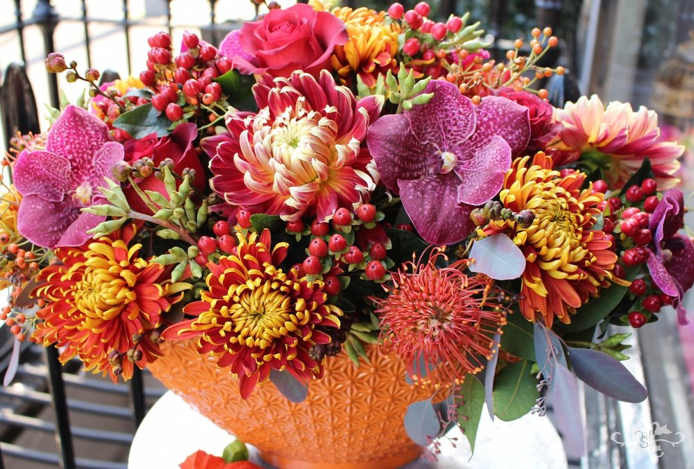 Flower arrangement for Thanksgiving by Neill Strain Belgravia