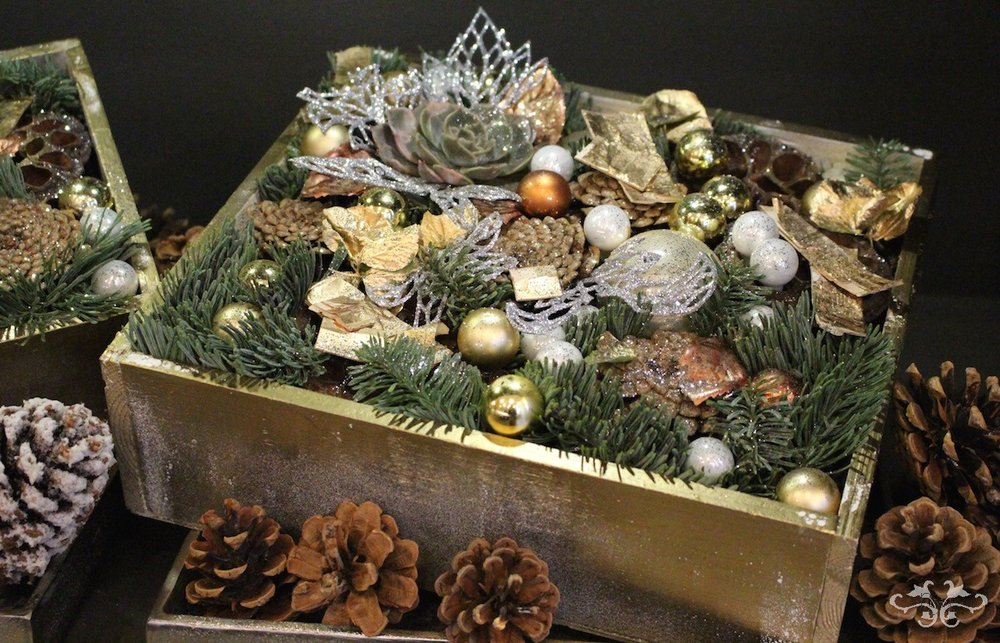 The perfect gift or coffee table decoration is a box full of seasonal botanicals blended with seasonal sparkle.