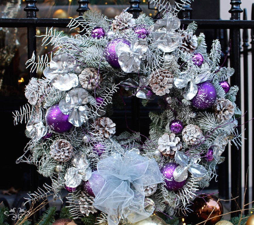 Silver door wreath Neill Strain Belgravia London