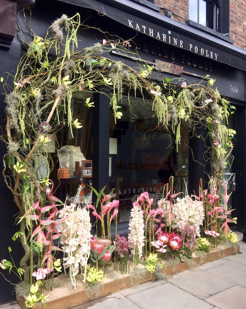 "A ""Floral Safari"" theme for interior designer Katharine Pooley's boutique on Walton Street."