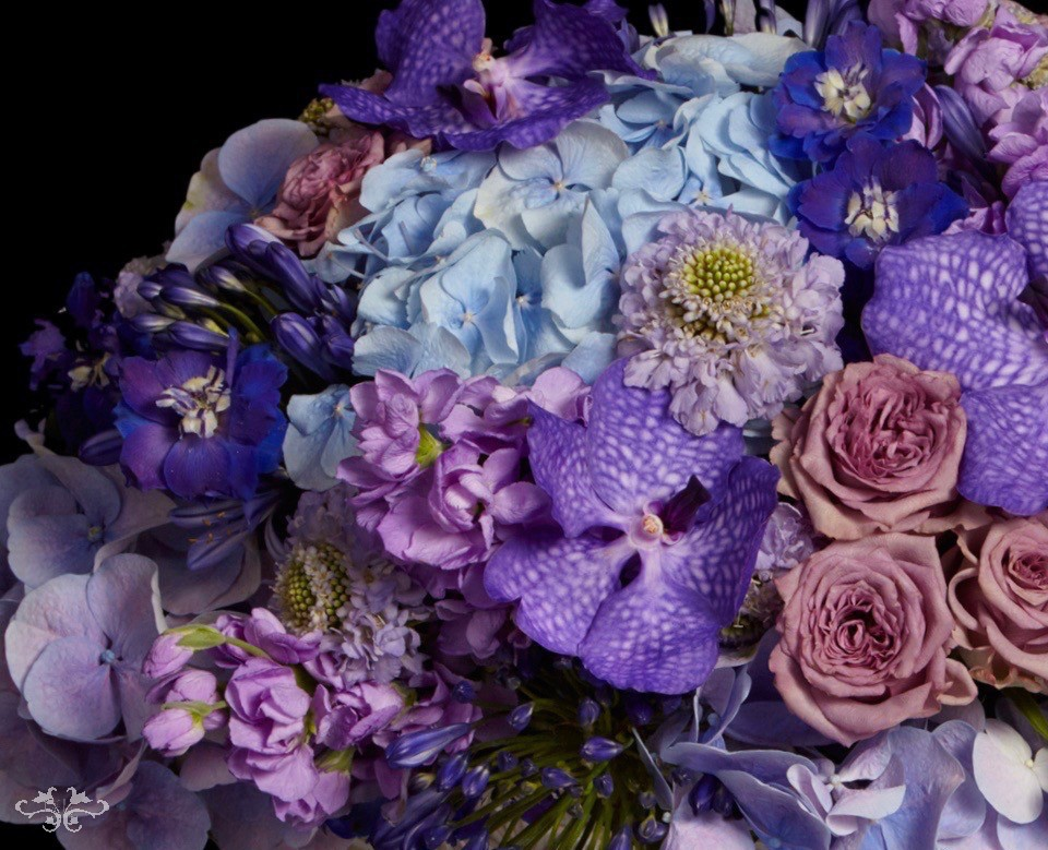 """Summer Blue"" range is created with Hydrangea, Stocks, Agapanthus, Roses, Delphiniums, Vanda Orchids and other seasonal blooms."