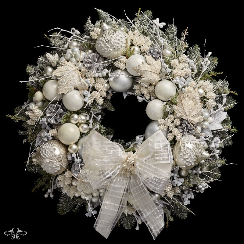 "Neill Strain Floral Couture Super Deluxe Wreath  ""Snowflake"""