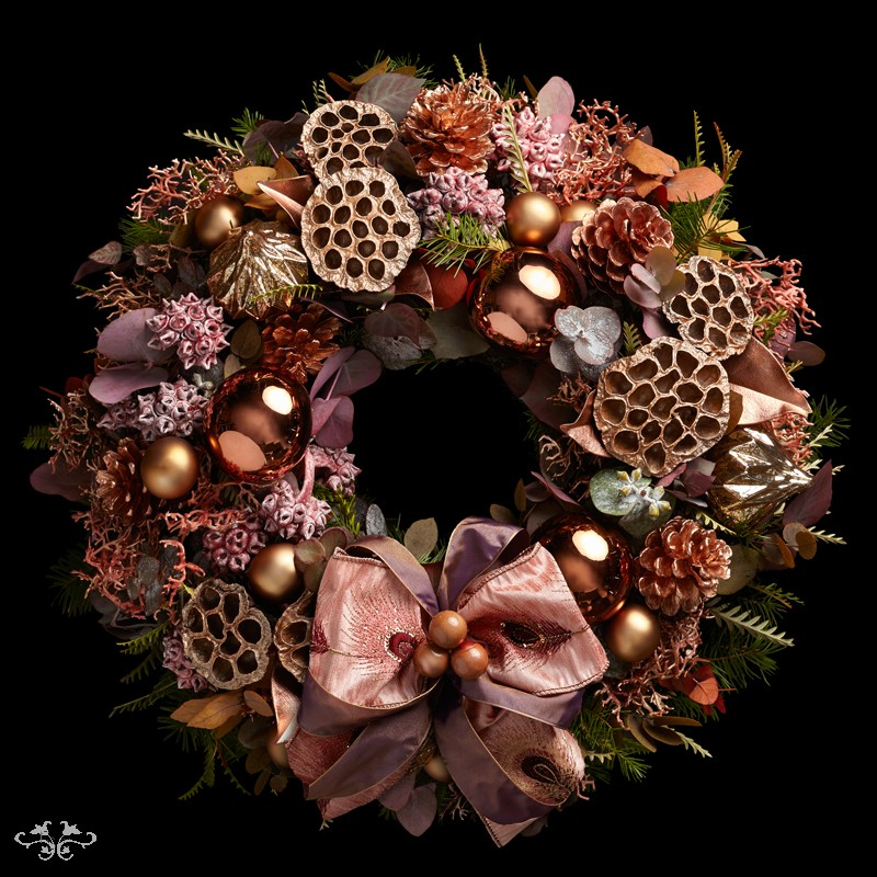 "Neill Strain Floral Couture Super Deluxe wreath  ""Christmas Coral"""