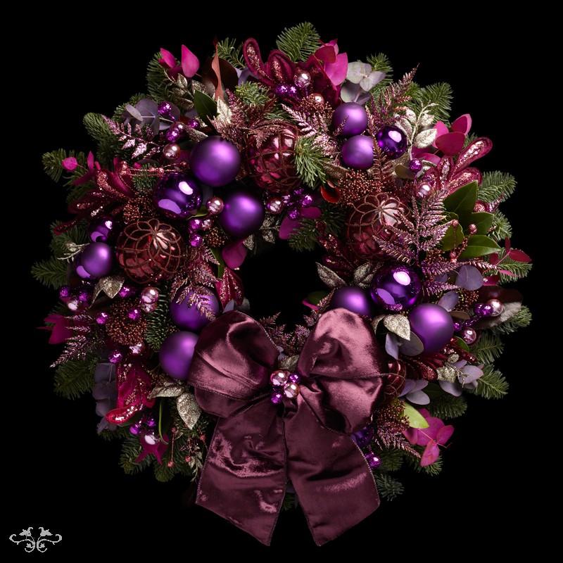 "Neill Strain Floral Couture Super Deluxe wreath  ""Sugar Plum"""