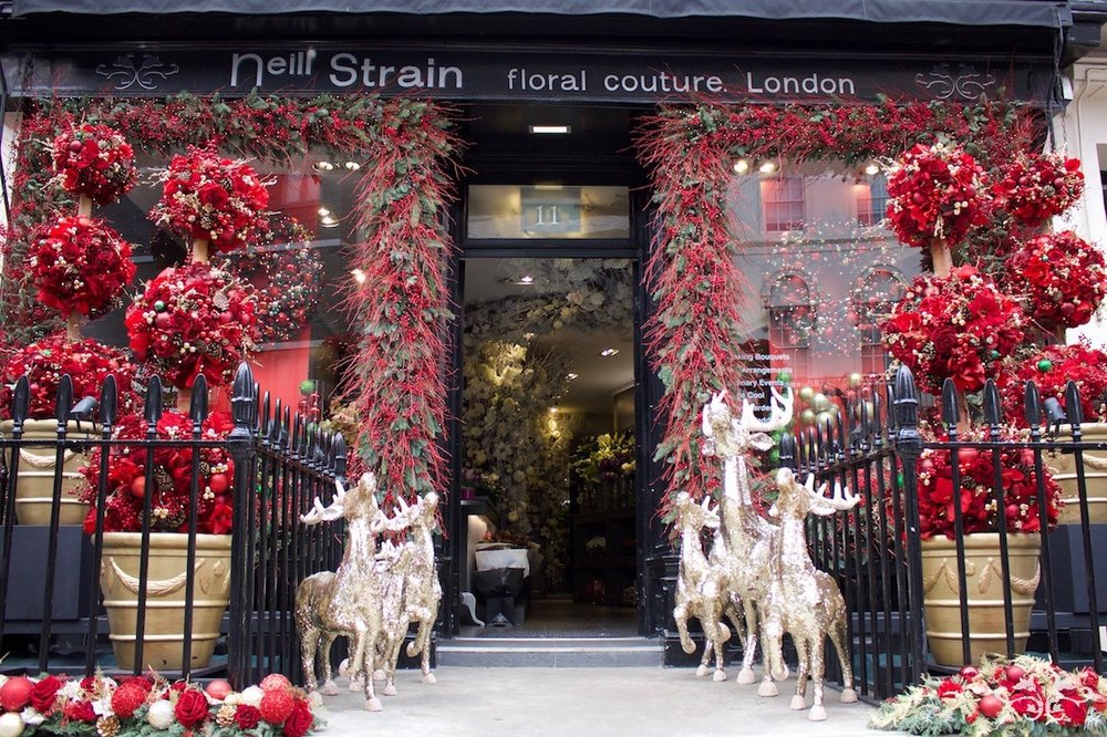 The Neill Strain Floral Couture Belgravia Christmas Window Display on West Halkin Street