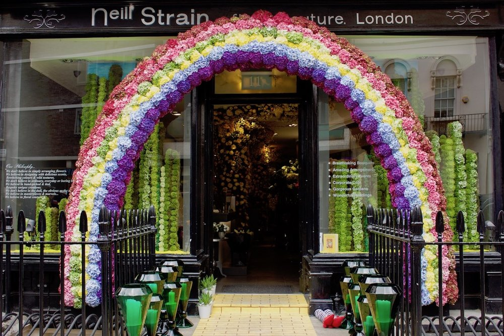"Award-winning Belgravia in Bloom design for ""Hello Hydrangea!"" during the RHS Chelsea Flower Show at Neill Strain Floral Couture"