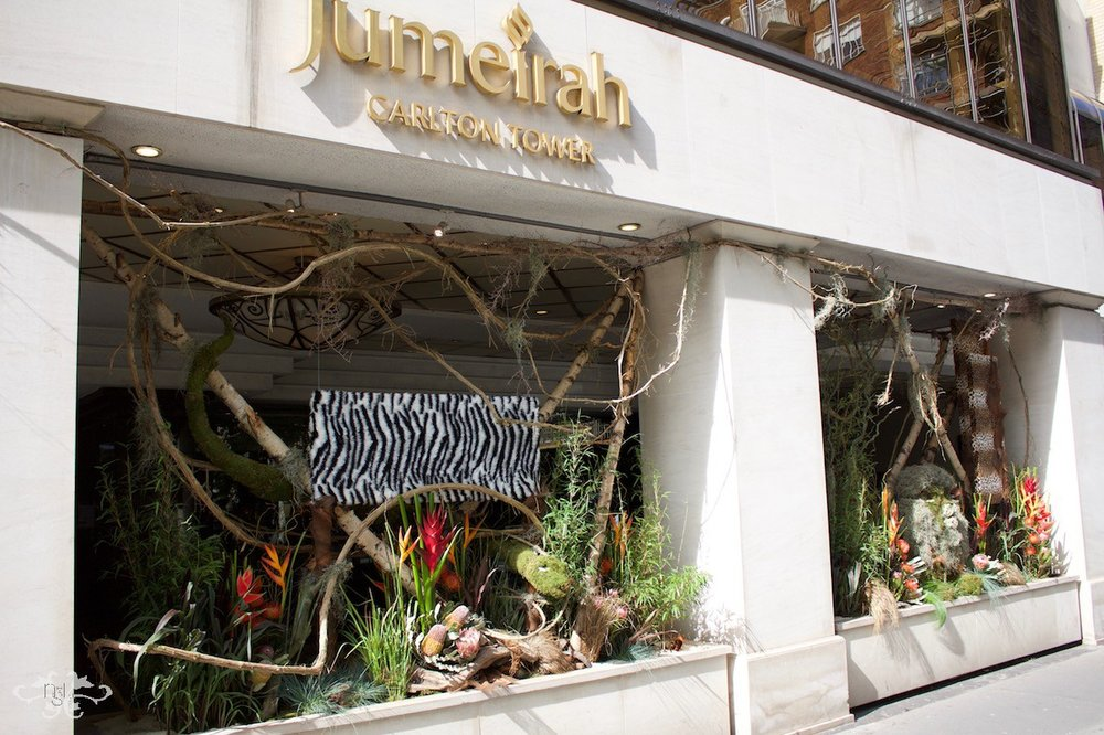 "Jungle themed display for the Jumeirah Carlton Hotel won a Gold award in ""Chelsea in Bloom"""