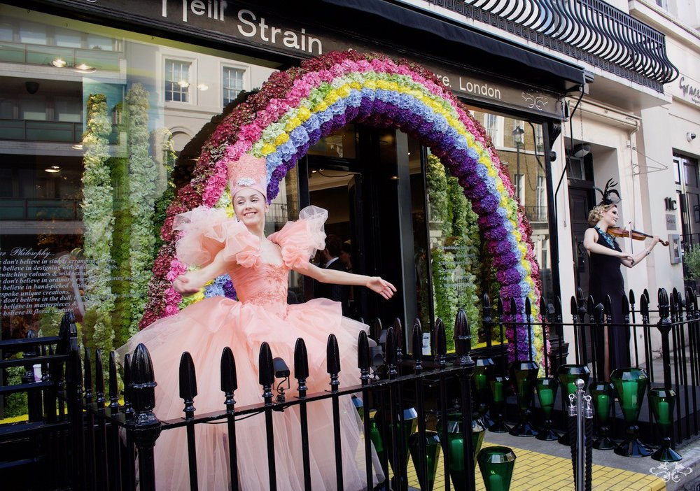 "Neill Strain Floral Couture launch party for ""Belgravia in Bloom"" with a Wizard of Oz theme"