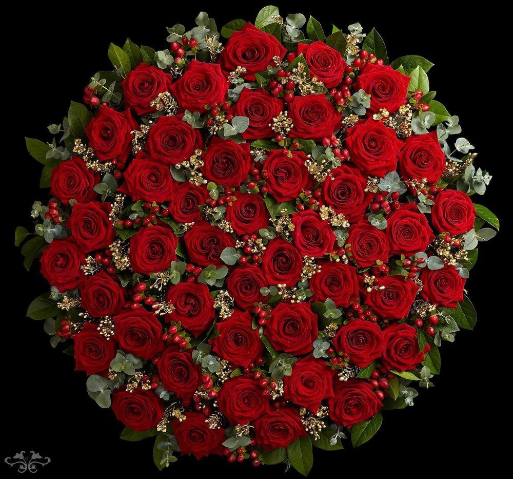 Neill Strain Floral Couture XXL Valentine's bouquet comprises four dozen spectacular 80 cm Red Naomi Roses