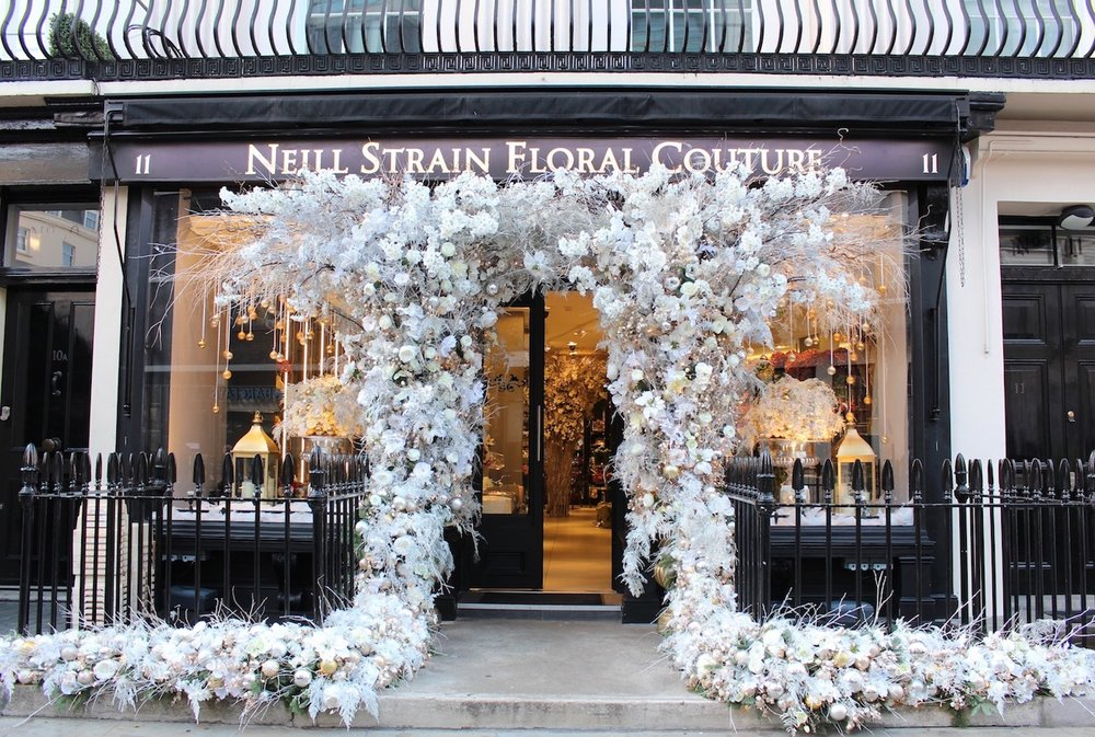 Christmas at the Neill Strain Floral Couture boutique in Belgravia