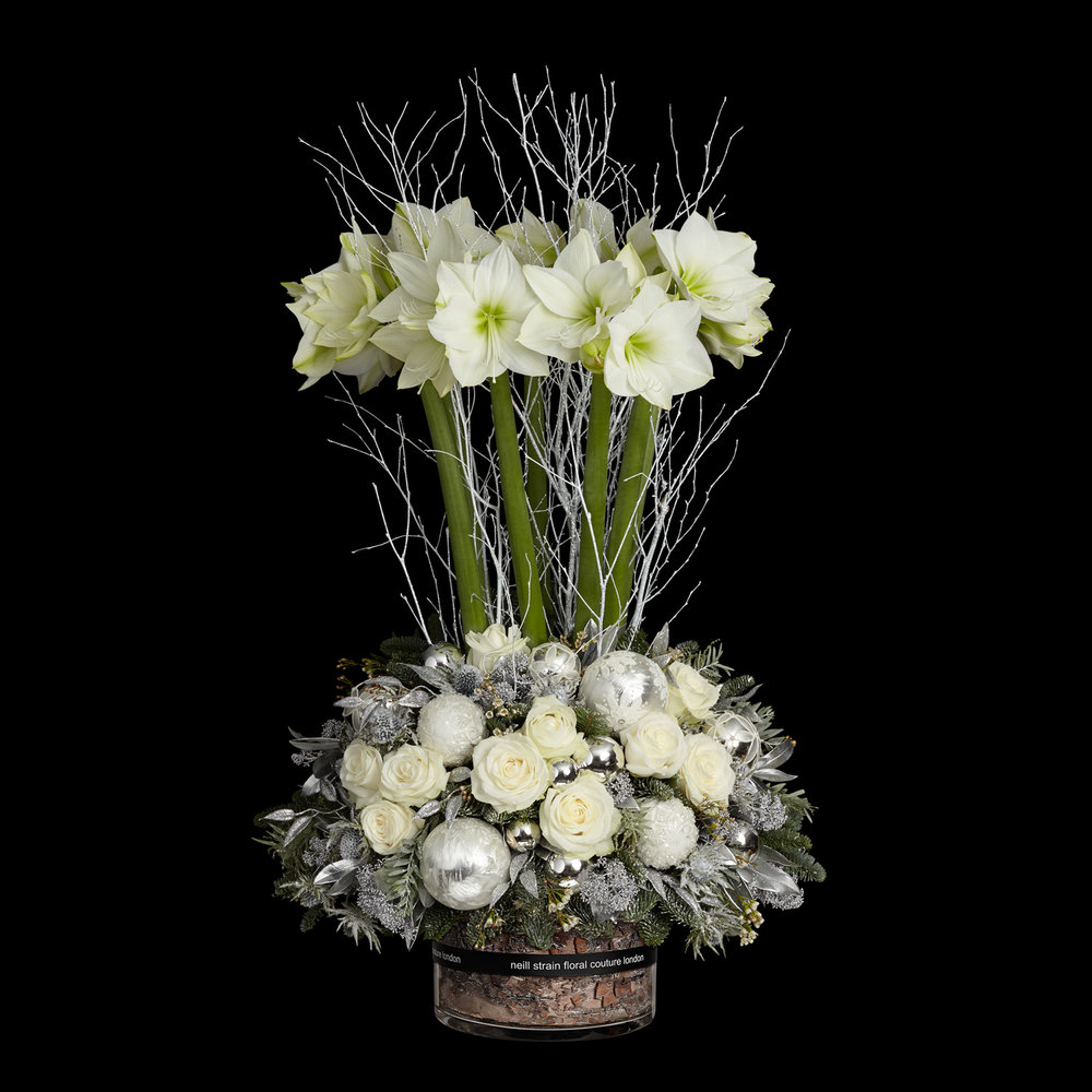 White Christmas Tall Arrangement Neill Strain Floral Couture London
