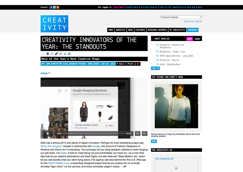 Featured on Creativity: Innovator of the year