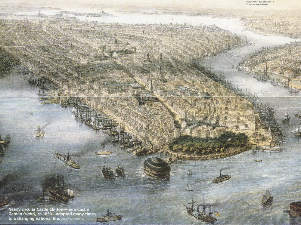 view of lower manhattan c. 1850