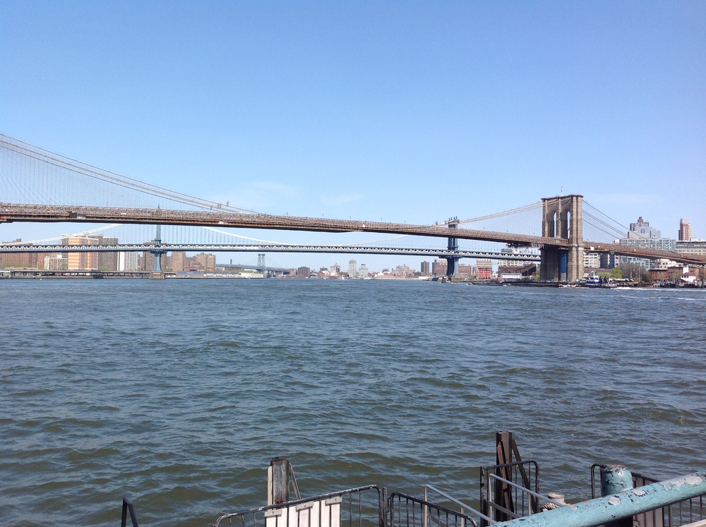 Brooklyn, Manhattan and Williamsburg bridges, taken from South street seaport may 2015