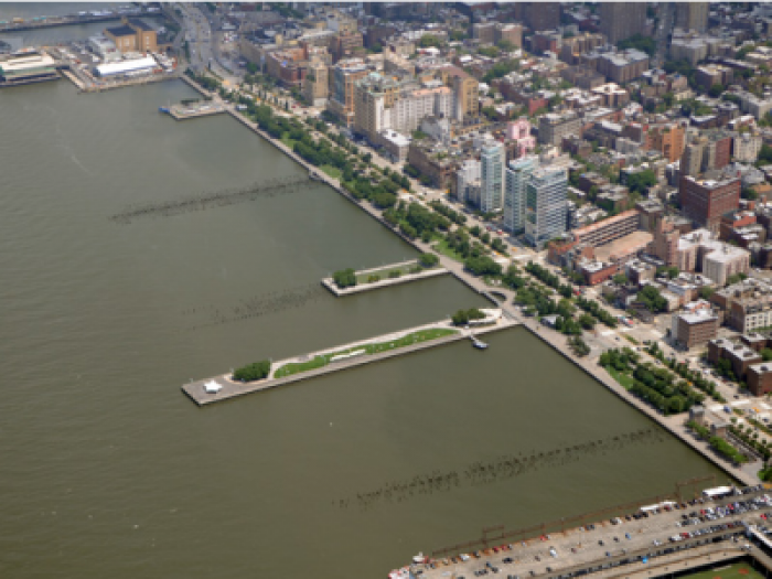Aerial view of Greenwich Village waterfront