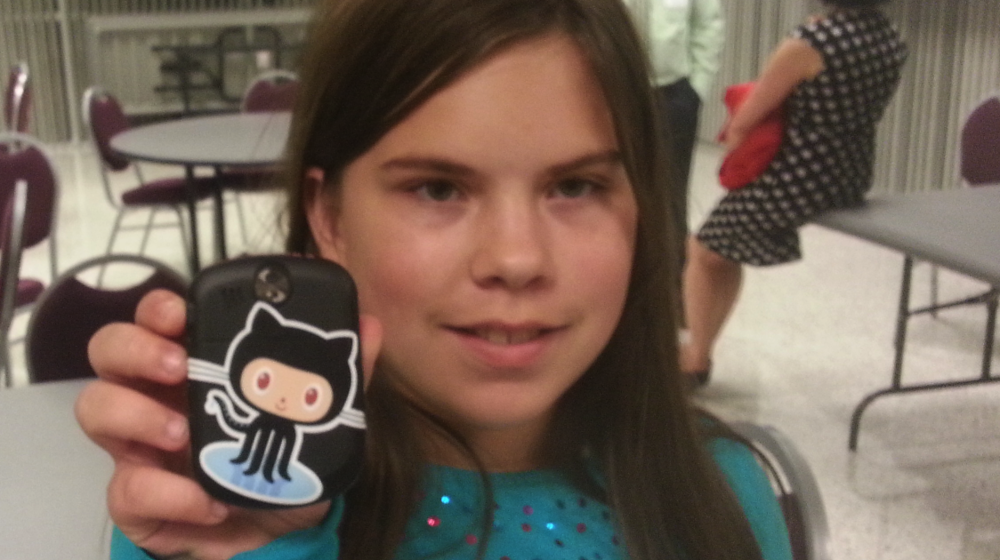 Abigail, 12, and her new friend Octocat