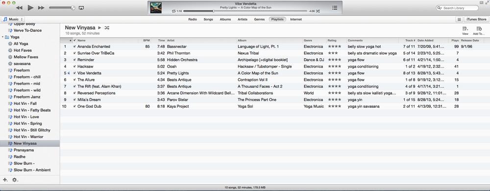 Playlists view.