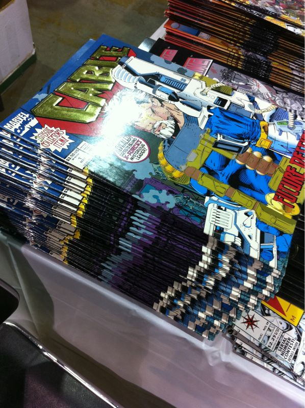 Sunday I  mentioned  The Single Worst Thing For Sale that I like to find at conventions.  This picture was snapped at Wizard World 2010 and there's a lot to like about it.  First of all, and it may be hard to tell with the perspective on the picture, this stack is no less than about 75 issues deep.  If you and 74 of your closest friends are looking for quality, you've come to the right place.  Second, there is a little blurb in the upper left corner of the comic that says '1st Issue Collectors Item'.  I dont think they intended anyone to buy 70 or 80 of them in hopes that you'll sell them for a buck a piece in 15 years.  Finally, this issue has a cover price of 3.50, and they were being sold for a dollar an issue, for a sweet ROI of -2.50.  Charles Schwab says that I should be in the positive when investing, but I like to think outside the box.   Stack of Cable #1's, you are the esteemed winner of TSWTFS at Wizard World 2010!   Sadly, this isn't a  Rob Liefeld  cover.