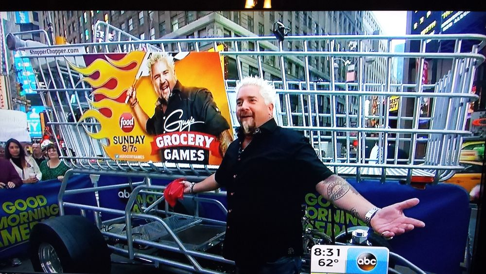 Guy Fieri and the Shopper Chopper appeared on Good Morning America to promote the Food Network premiere of Guy's Grocery Games