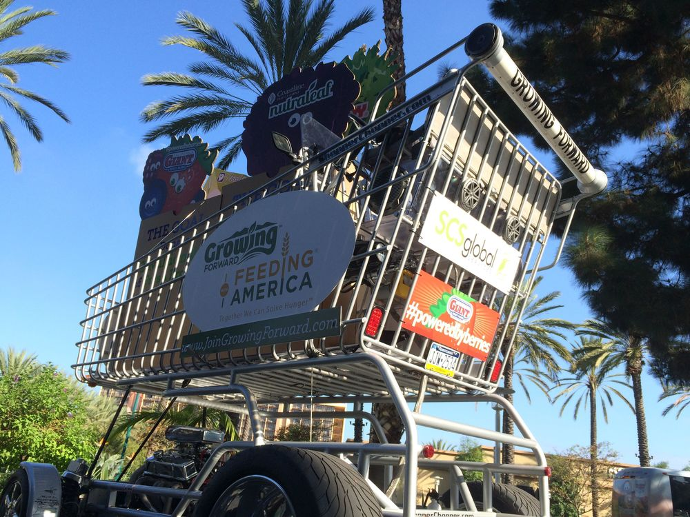 We worked with McDill & Associates to launch cause marketing program at the PMA Fresh event at the Anaheim Convention Center. If you want attention at vendor saturated event, you drive a ten-foot tall grocery cart carrying giant fruit and veggies down the street