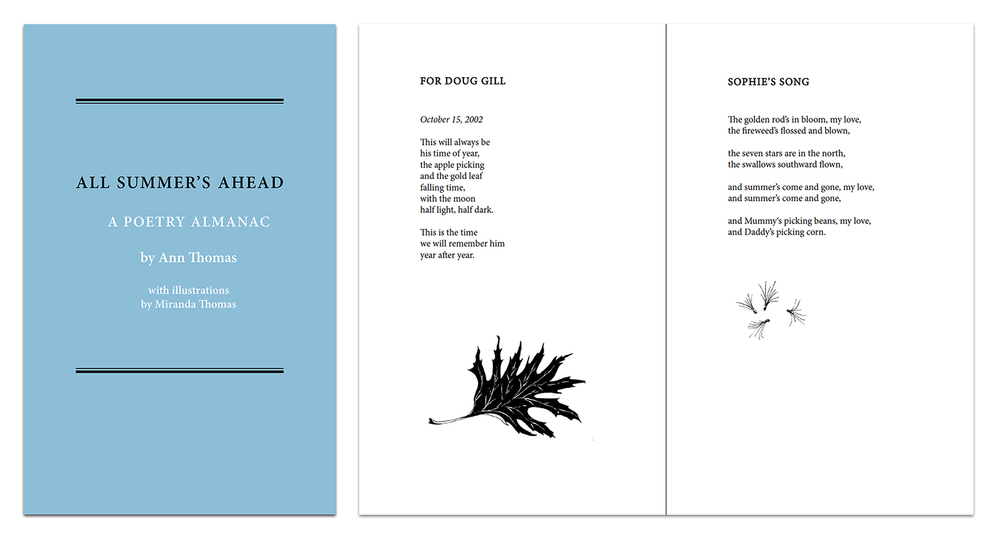 "Book Layout + Design for ""All Summer's Ahead"" by Ann Thomas and Miranda Thomas"
