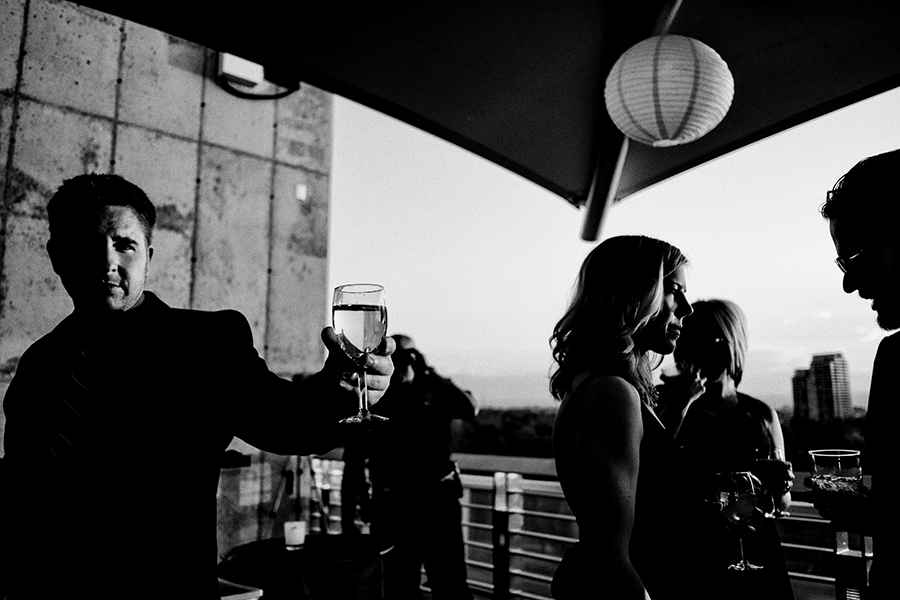 a cocktail hour moment caught from the rooftop of the denver museum of nature and science