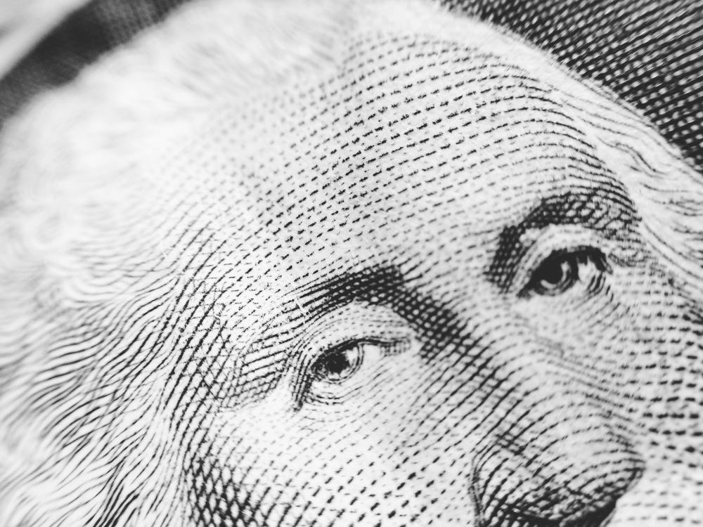 Macro of $1 bill