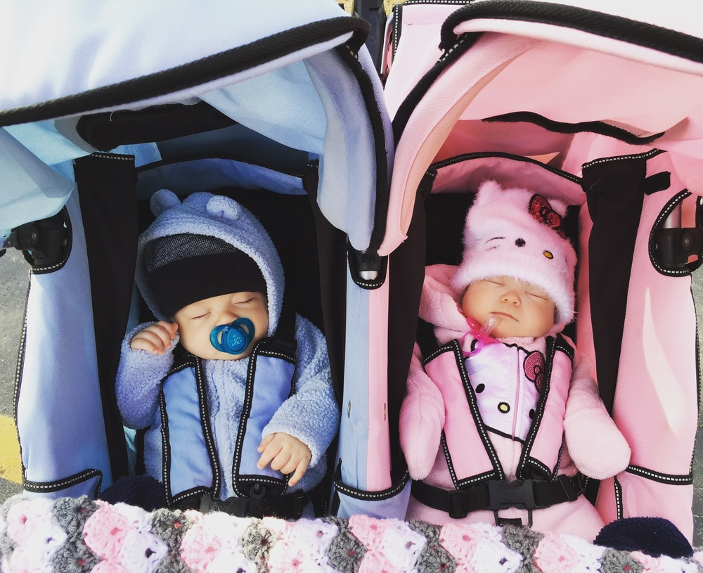 twin-boy-and-girl-sleeping-in-stroller