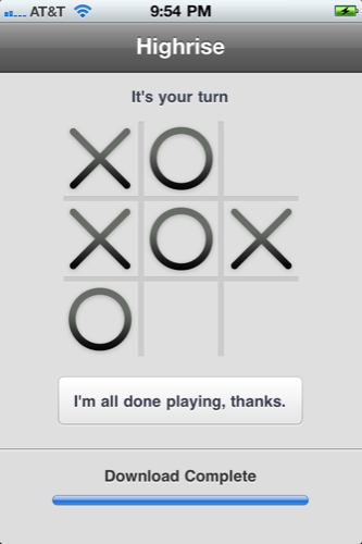 A load screen done well. While the  iPhone Highrise app  loads your account's CRM information, it presents you with a stylish variation of tic tac toe. Business meets leisure at the appropriate time to break the work productivity only momentarily. (The app is free, but requires a 37signals  Highrise  account to operate.)